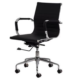 Poltrona diretor giratória com braço, assento e encosto revestidos PU e base cromada