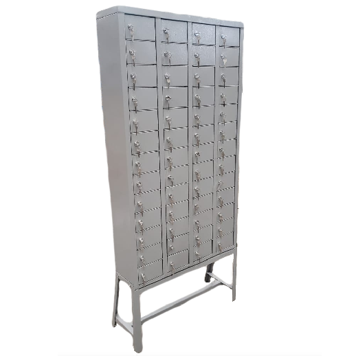 Armário de aço porta celular com 52 portas pequenas