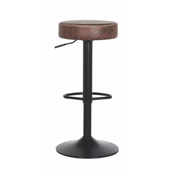 Banqueta com base metálica, assento giratório de courino, apoio de pé e regulagem de altura