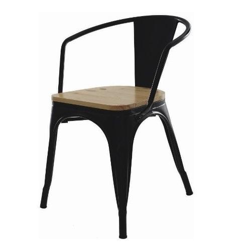 Cadeira em aço com braço, assento em madeira e pintura epóxi preta