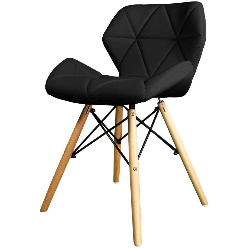 Cadeira com base de madeira e concha revestida em PU preto