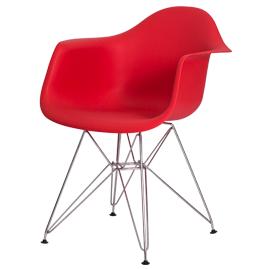 Cadeira com concha com braço em polipropileno e base cromada