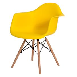Cadeira com concha com braço em polipropileno e base em madeira