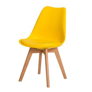 Cadeira com concha em polipropileno e assento PU