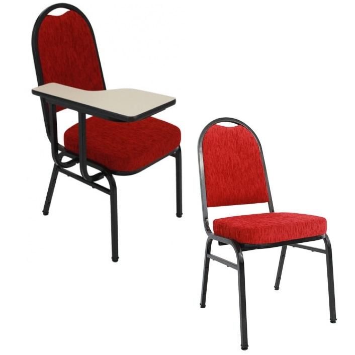 Cadeira empilhável com prancheta removível