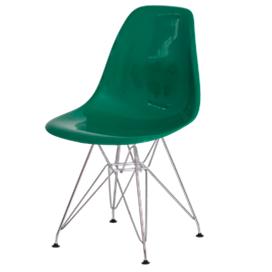 Cadeira fixa com assento e encosto em ABS com base em cromada