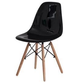 Cadeira fixa com assento e encosto em ABS com base em madeira