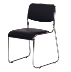 Cadeira fixa com assento encosto revestido em PU preto e base cromada