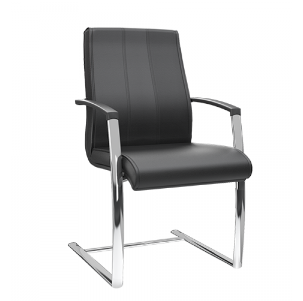 Cadeira aproximação S com braço com capa em termoplástico