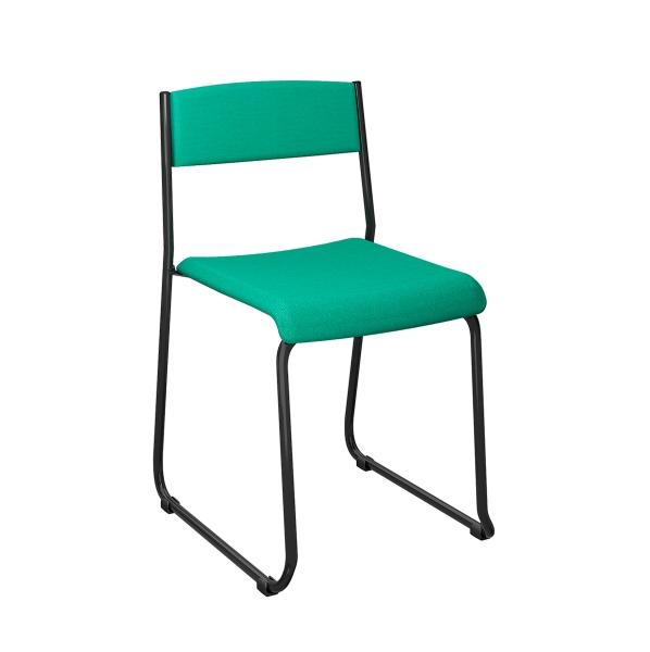 Cadeira fixa empilhável com pé contínuo em madeira de freijó ou couríssimo