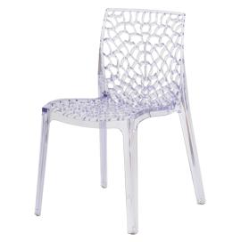 Cadeira em policarbonato transparente com assento e encosto trabalhado