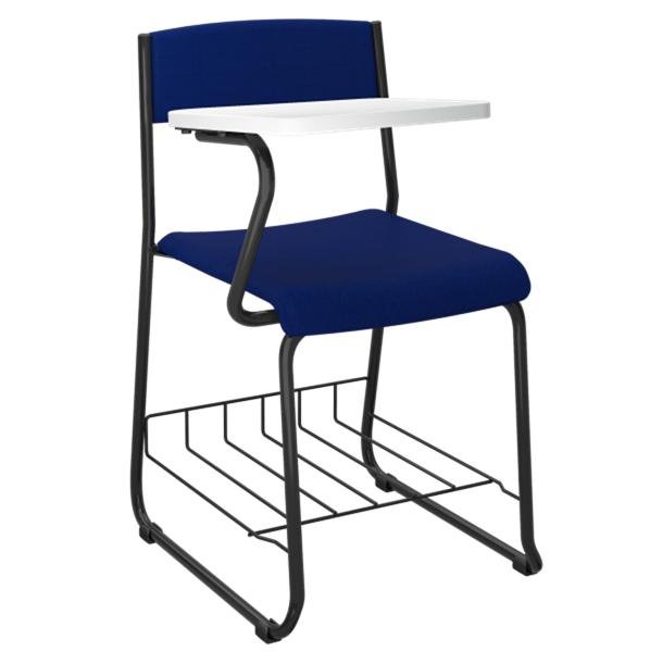 Cadeira universitária com prancheta lateral e porta livros aramado