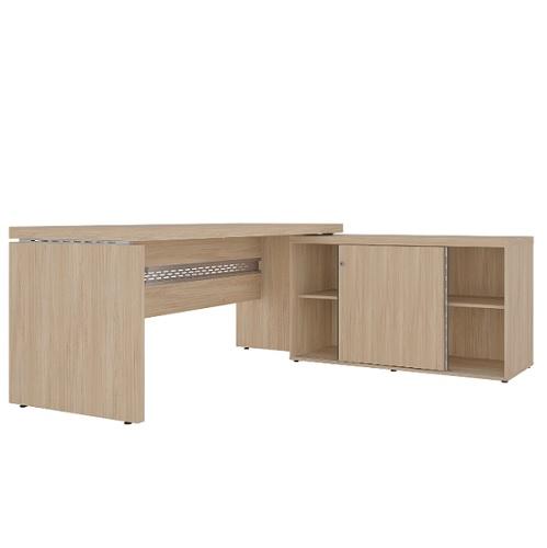 Conjunto em L com mesa reta e armário baixo com porta de correr