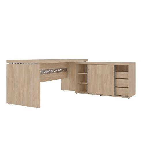 Conjunto em L com mesa reta e armário baixo com portas de corres
