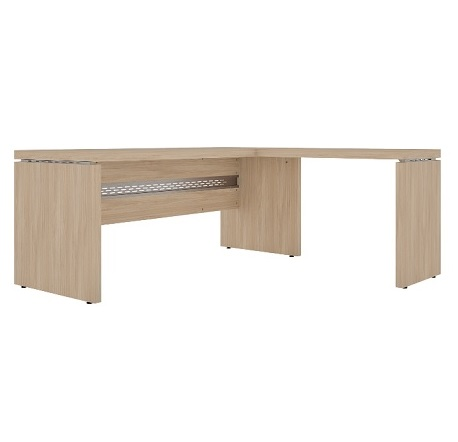 Conjunto em L com mesa reta e mesa complementar pé painel