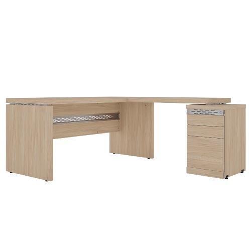 Conjunto em L com mesa reta e mesa complementar com pé gaveteiro com 3 gavetas
