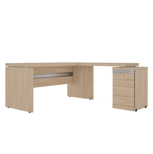 Conjunto em L com mesa reta e mesa complementar com pé gaveteiro com 4 gavetas