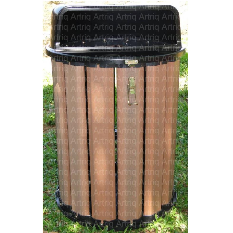 Lixeira ecológica de madeira plástica marrom com tampa e base colorida