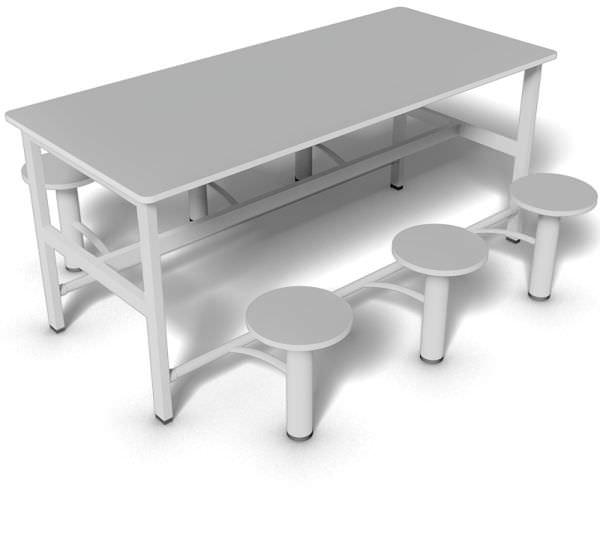 Mesa de refeitório com bancos retráteis de 6 lugares e tampo 18 mm