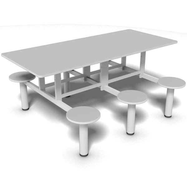 Mesa de refeitório com bancos fixos de 6 lugares e tampo 18 mm