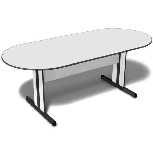 Mesa de reunião oval com tampo de 15 mm