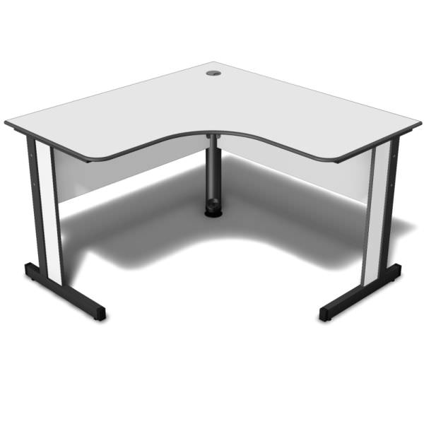 Mesa em L com tampo de 15 mm com canto redondo