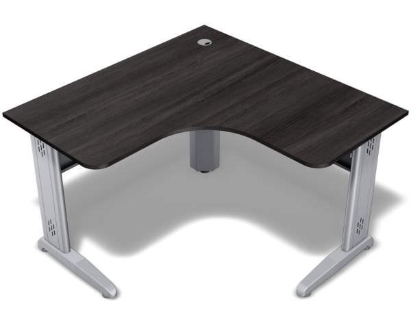 Mesa em L com tampo de 18 mm com os cantos redondos