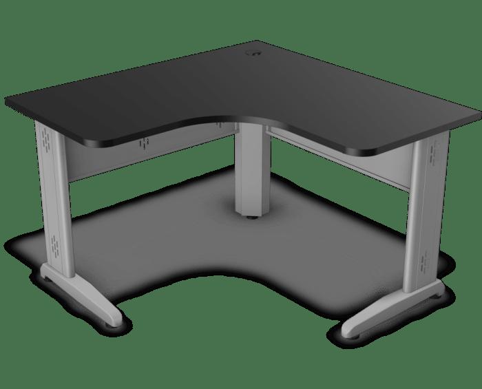 Mesa em L com tampo de 25 mm com os cantos redondos