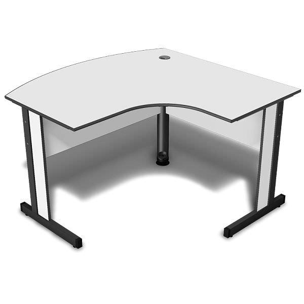Mesa em L de atendimento do lado esquerdo com tampo 15 mm arredondado