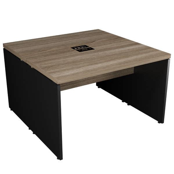 Mesa plataforma de 2 lugares opostos com tampo engrossado