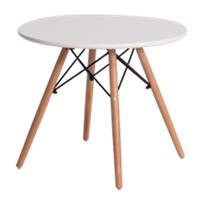 Mesa redonda com base e tampo em madeira