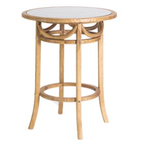Mesa redonda em madeira com tampo de vidro