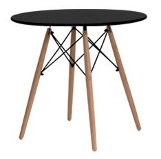 Mesa redonda com pés em madeira e tampo em MDF