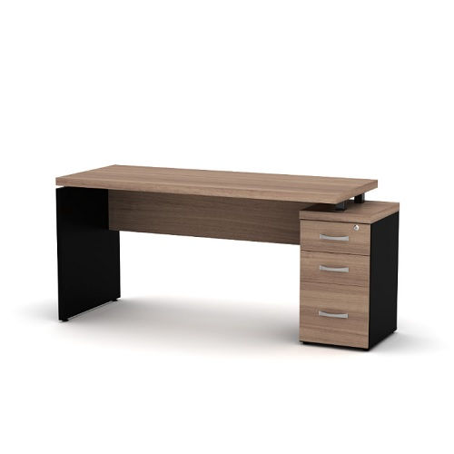 Mesa reta com pé gaveteiro com 3 gavetas e tampo de 40 mm