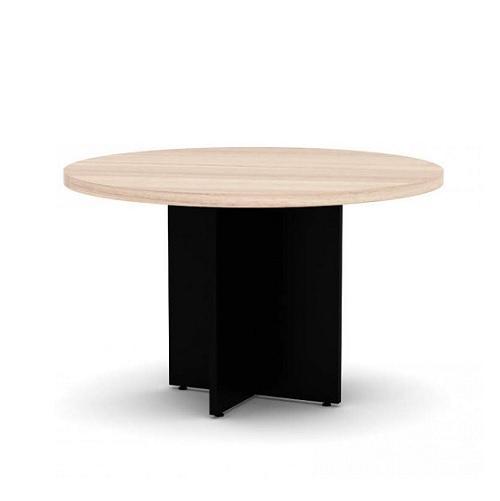 Mesa de reunião redonda com pé painel e tampo de 40 mm