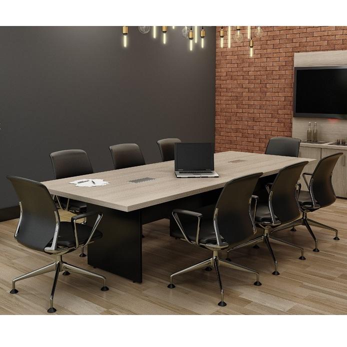 Mesa de reunião retangular com tampo bipartido de 40 mm e caixas de tomada