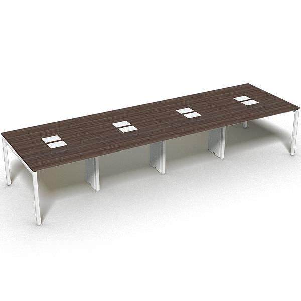 Plataforma de 8 lugares opostos com tampo 25 mm e caixas de tomada