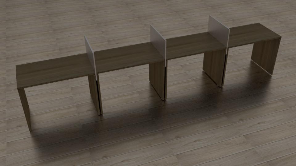 Plataforma com pés painel de 4 lugares lado a lado com painel divisor
