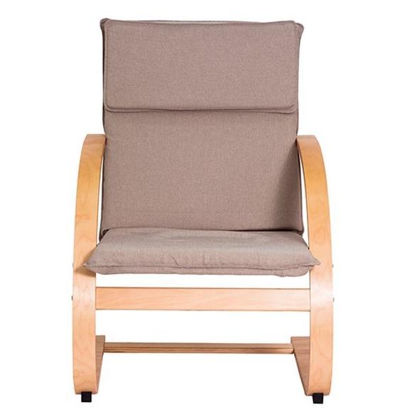 Poltrona em madeira com braço e assento e encosto em poliéster