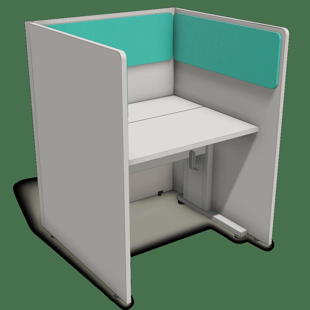 Posto de atendimento com mesa com regulagem de altura