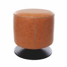 Puff redondo em courino com base em aço preto